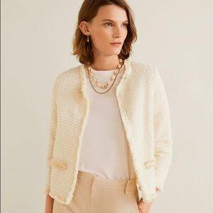 Mango Boucle-Style Tweed Cotton Blazer Jacket NWT